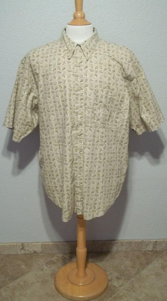 Bugle Boy Company XXL 2XL Beige Cotton Paisley Button Down Men's Casual Shirt