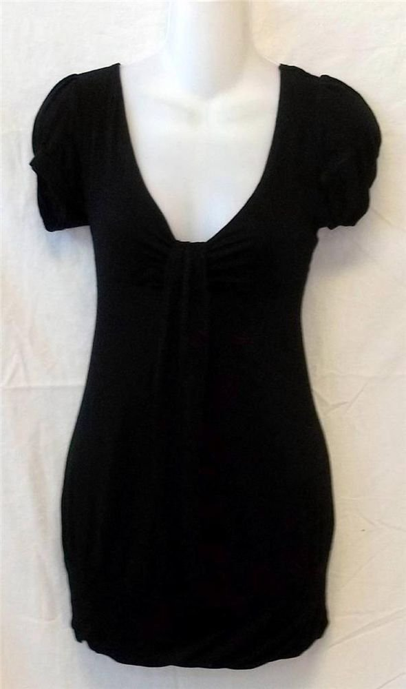 Small 4 6 American Dream Black Puff Sleeve V Neck Empire Stretchy Top Blouse