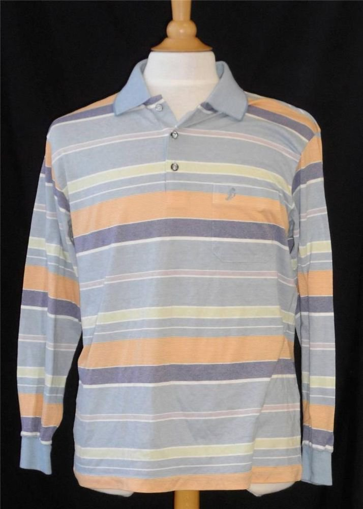 Toleex Mens XL Extra Large LS Blue Gold Mint Green Striped Polo Golf Shirt