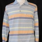 Toleex Mens XL Extra Large LS Blue Gold Mint Green Striped Polo Golf Shirt