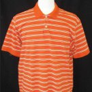 Eddie Bauer Men's Orange White Striped 100% Cotton SS Polo Golf Collared Shirt
