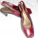 "Liz Claiborne 6 M B Burgundy Sling Back Peep Toe Leather 2 1/2"" Spool Heel Shoes"