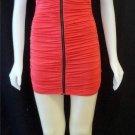 Juniors Small 3 5 Mystic Coral Bodycon Ruched Clubwear Mini Cap Sleeve Dress