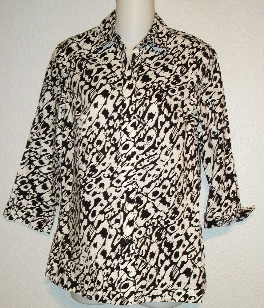 Liz Claiborne Small 4 6 Black White Pattern 3/4 Sleeves 100% Cotton Blouse Top