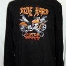 Men's 3XL 54 56 Ride Hard Custom Motorcycle Black LS 100% Cotton Casual Shirt