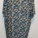 J. Ferrar XLXT Blue Taupe White Leaf Button Down Men's Casual Shirt 100% Rayon