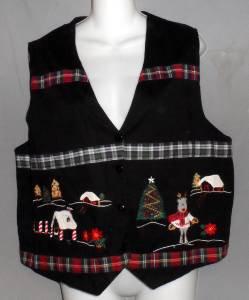 Nutcracker Large 12 14 Black Christmas Tree Reindeer V Neck Lined Cotton Vest