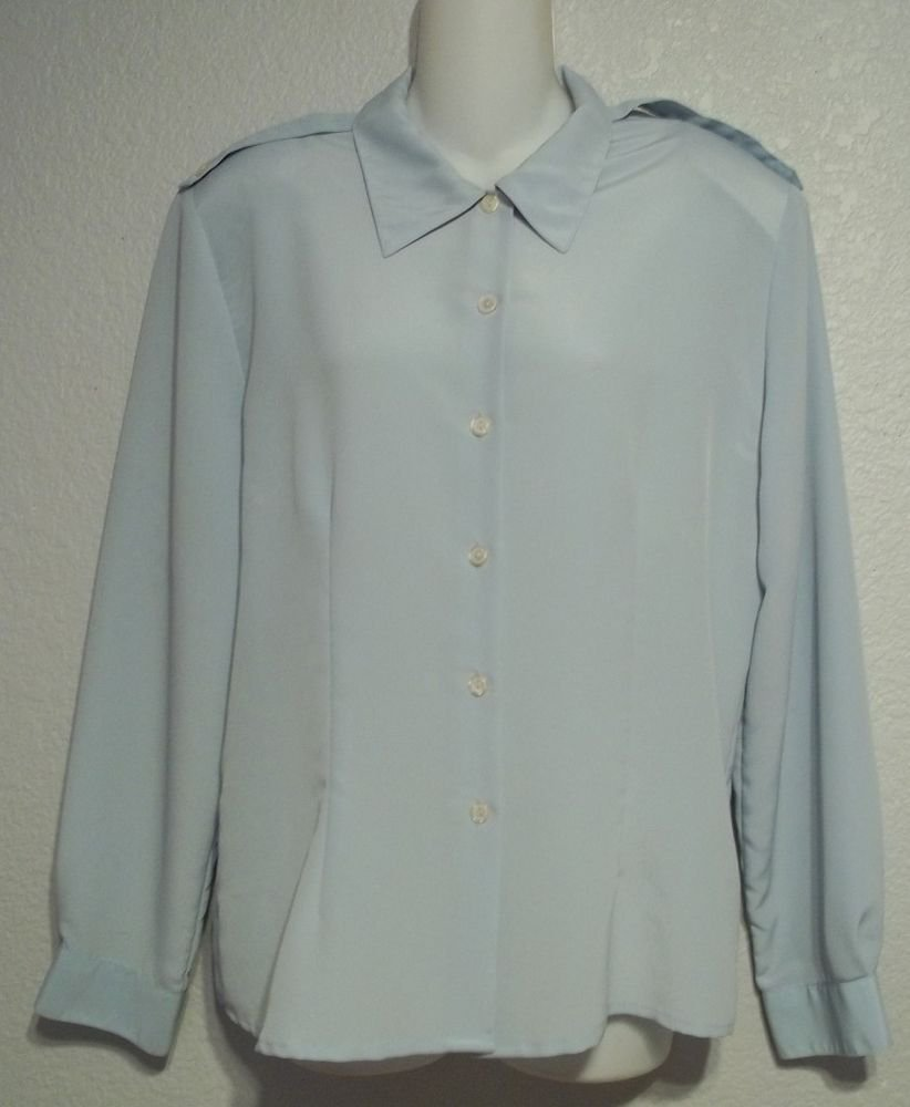 Impressions of California 12 Large Light Blue Career Long Sleeve Blouse Top