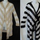 NEW Say What? Mesh LS Black 3X or Tan 1X 3X White Striped Open Cardigan Sweater
