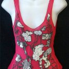 Sheer Red Black Beaded Silver Sequin Design Clubwear Casual Juniors Small 3 5