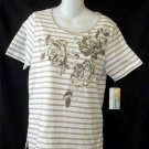 NEW Cathy Daniels Small 4 6 White Gold Brown Stripe Floral Sparkly SS Blouse Top