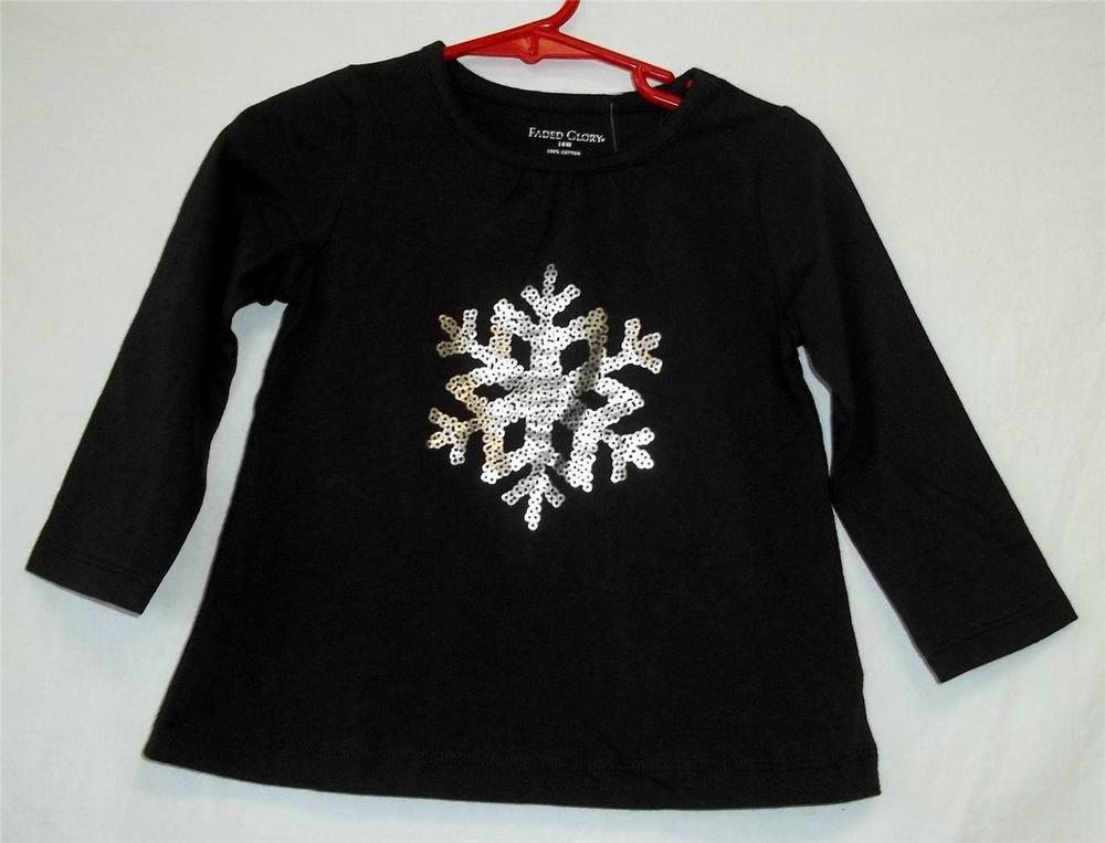 NEW Faded Glory 18M Girl Black LS T-Shirt Silver Snowflake Christmas Shirt