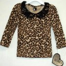 New XOXO Toddler Girl Leopard Print Black Sequin Collar LS Top 2T 3T 4T