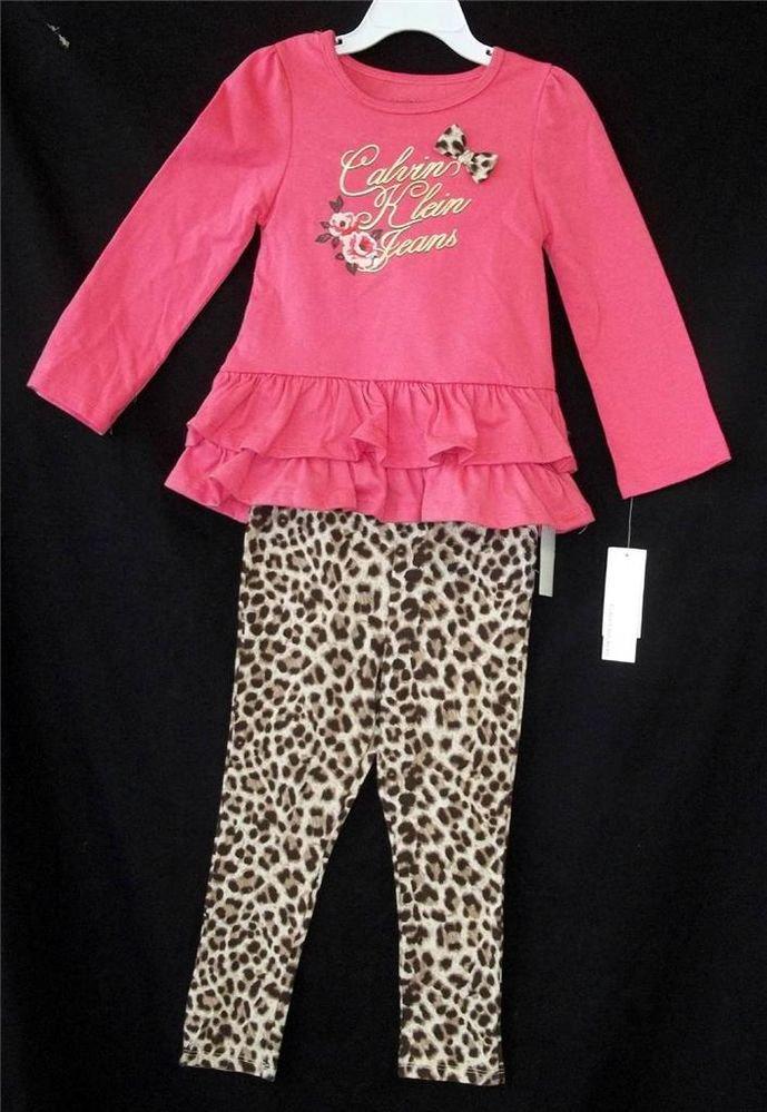 NEW Calvin Klein Jeans 3T 4T Toddler 2 pc Faux Leopard Pants Coral LS Top