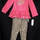 NEW Calvin Klein Jeans 3T 4T Toddler 2 pc Faux Leopard Pants Coral LS Top