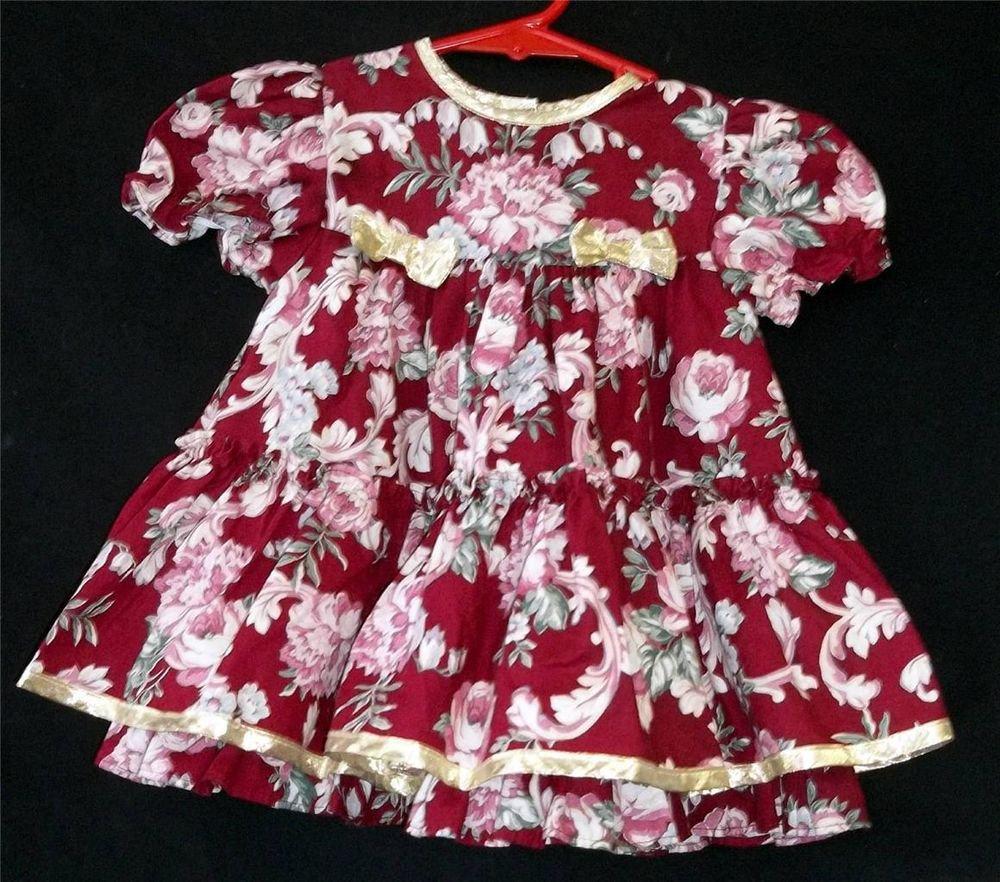 Jo Lene 18M Toddler Burgundy Shiny Gold Trim Flowered Ruffled SS Christmas Dress