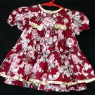 Jo Lene 18M Toddler Burgundy Shiny Gold Trim Flowered Ruffled SS Christmas Dress