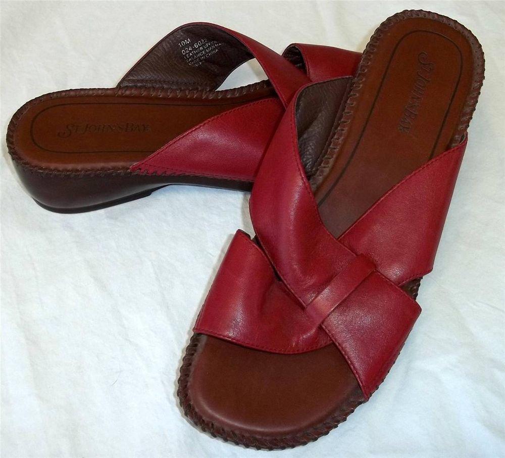 St. John's Bay 10M Burgundy Leather Slide In Open Toe Comfort Walking Sandals