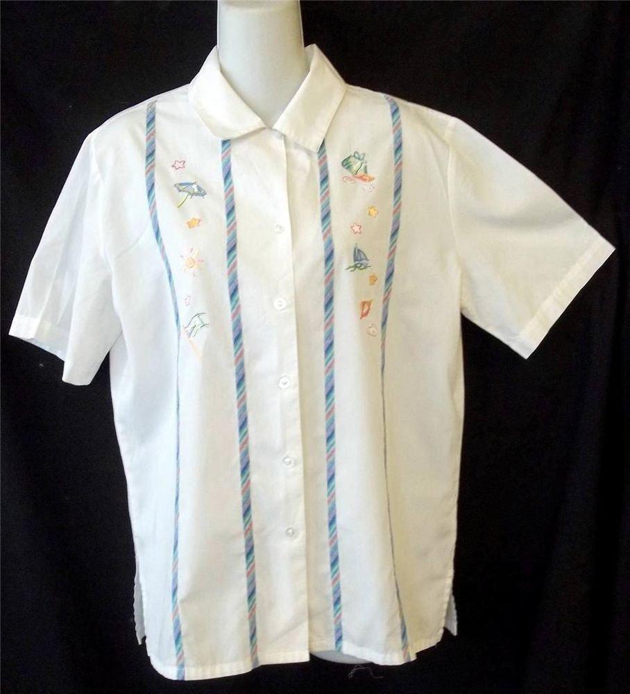 Napa Valley Small 4 6 White Beach Design Button Front Cotton Vintage SS Blouse