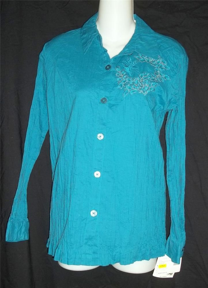 NEW Sag Harbor Petite M 8P 10P Teal Crinkley Cotton Embellished LS Blouse