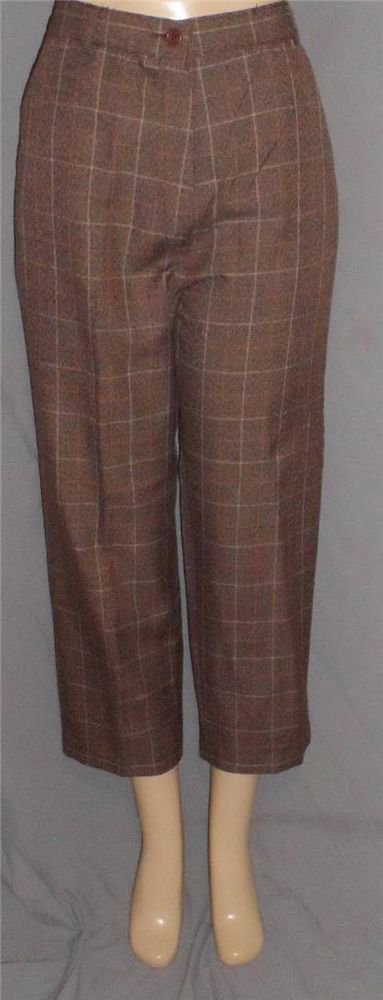NEW Kim Rogers Essentials Petite 8P & 10P Career Pants Brown Business Plaid
