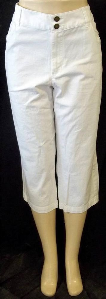 Merona Fit 1 16 XL White Stretch Denim Mid Rise Mid-calf Cropped Pants Capris