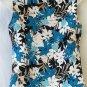 Jaclyn Smith Medium 8 10 Sleeveless Aqua Black Floral Beaded Shell Tank Top