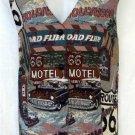 Venezia Jeans 26 28 4X Road Trip Route 66 Button Front V Neck Tapestry Vest