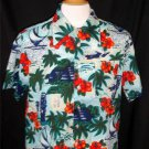 Vintage Waikiki 76 Men's Large Light Blue Red Hawaiian Floral Camp SS Shirt