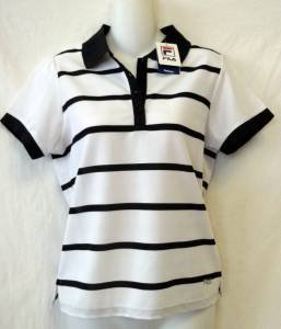 NEW Fila Performa Small 4 6 White Black Stripe SS Collar Pullover Golf  Shirt
