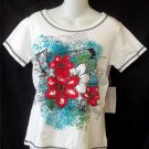 NEW Allyson Whitmore Small 4 6  White Red Teal Paris Floral Sparkly Gem SS Shirt