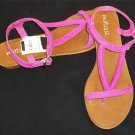 matisse Hot Pink All Leather 6M Flat Heel Buckle Thong Sandals Shoes