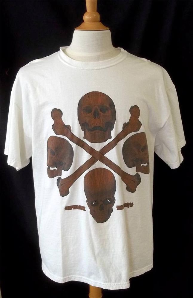 Avirex Large Men's White Brown Black Realistic Skull Design Cotton SS T Shirt