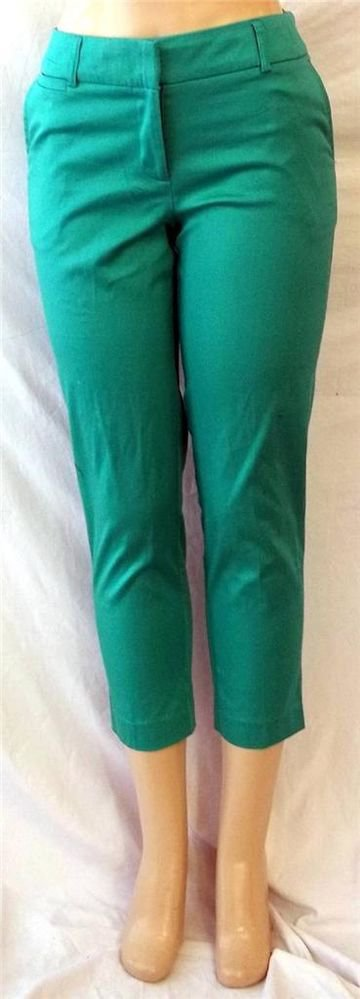 NEW George 4 Small Teal Green Breeze Casual Cotton Blend Capris Cropped Pants