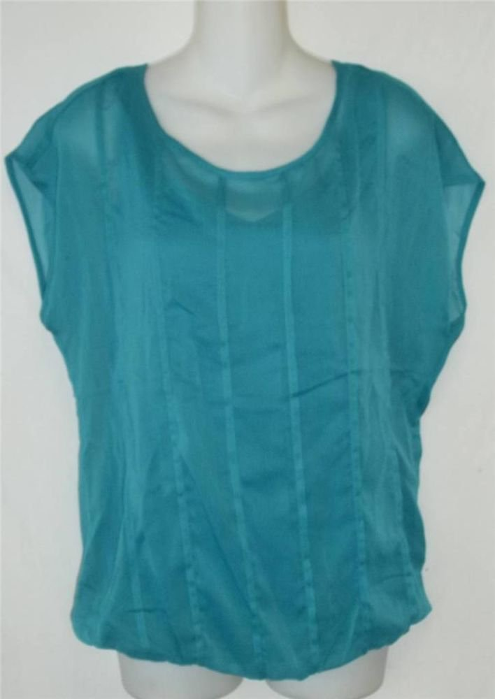 Rose & Olive Small 4 6 Teal Boat Neck Elastic Hem Sewn In Cami Tank Blouse Top