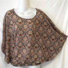 Rose & Olive Small 4 6 Baroque Style Floral Sheer Dolman Sleeve Blouse Top