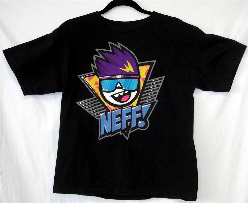 Youth XL Neff Black Blue Purple Yellow Gray White Pink 90's Pattern T Shirt