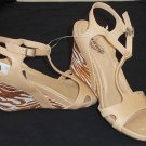 "Unlisted Kenneth Cole 8-1/2 M B Ankle Camel Copper T-Strap  3"" Wedge Heel Shoes"
