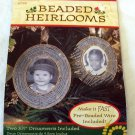 Fibre Craft Beaded Heirlooms Picture Frame Two Ornaments 1997 Craft Kit Sealed