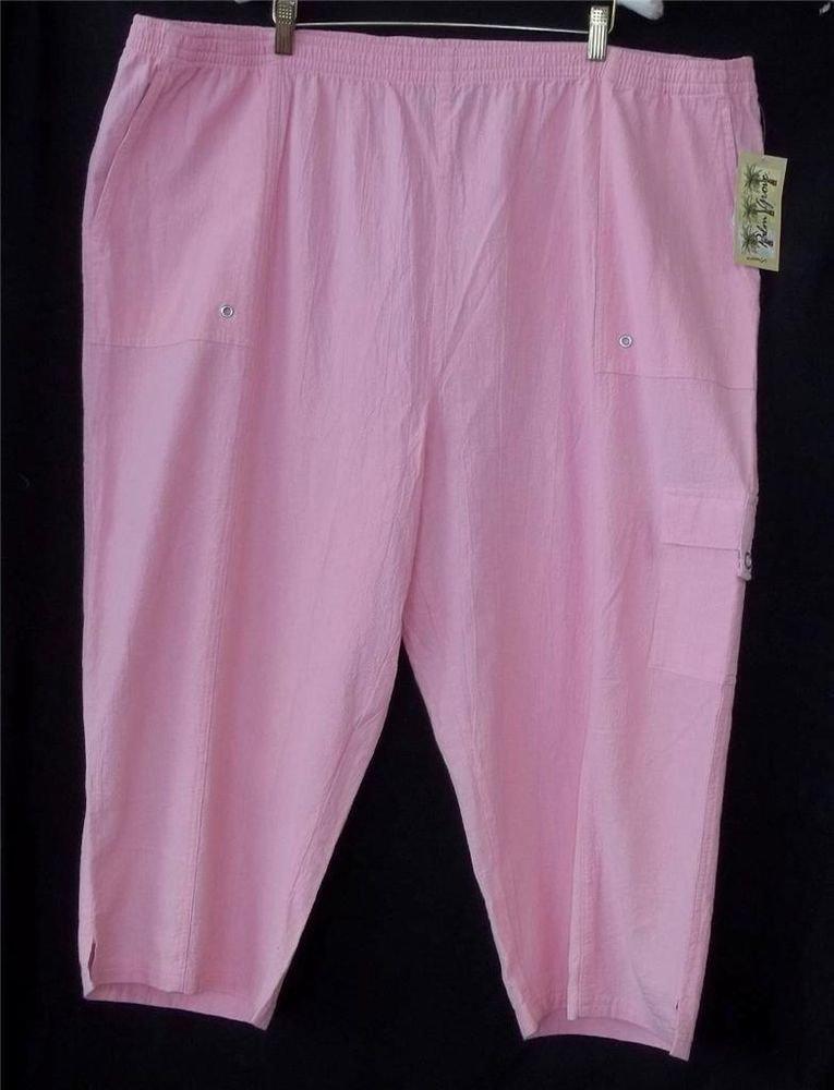 NEW Palm Grove Plus 3X Pink Coral Wide Leg Capris Cropped Pants Elastic Waist