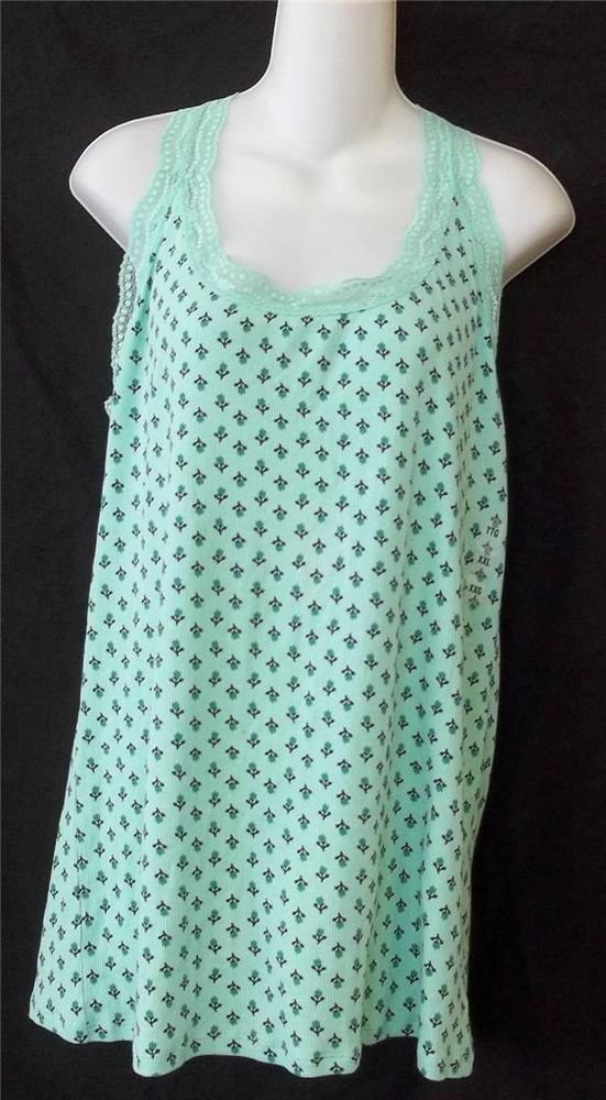 NEW Old Navy Plus XXL 2X Mint Green Stretchy Flowers Lace Neck Tank Top Cami