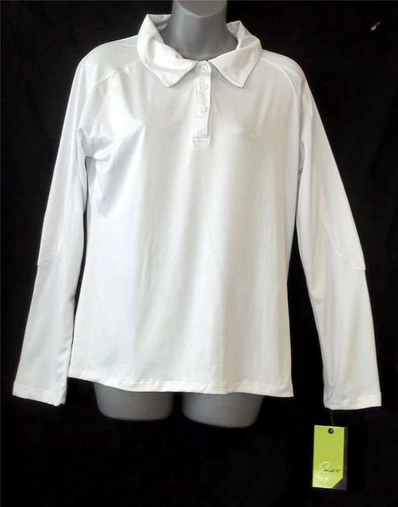 NEW Emerald 18 Large 16 18 White Long Sleeve Golf Silky Blouse 3 Button Collar