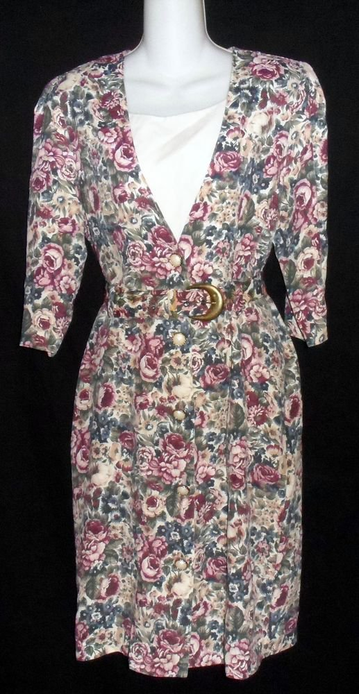 Ms. Basia Petites 8P PM Plum Olive White Dickey '80s Dress 1/2 Sleeves Self Belt