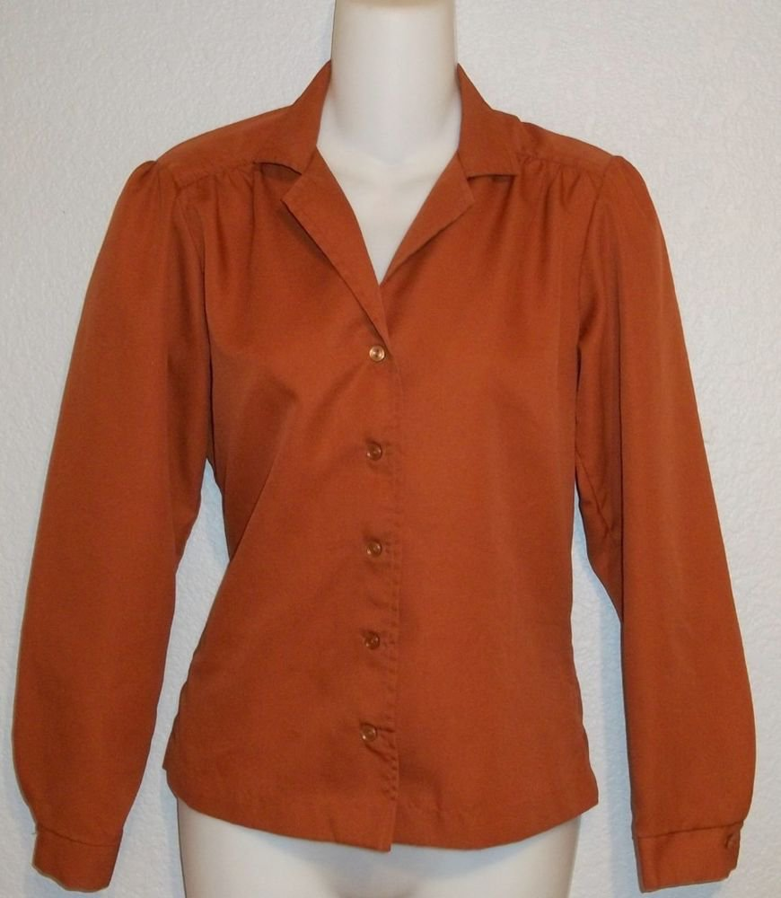 Paddle & Saddle 5 6 Small Vintage 70s Rust Long Sleeve Silky Career Blouse