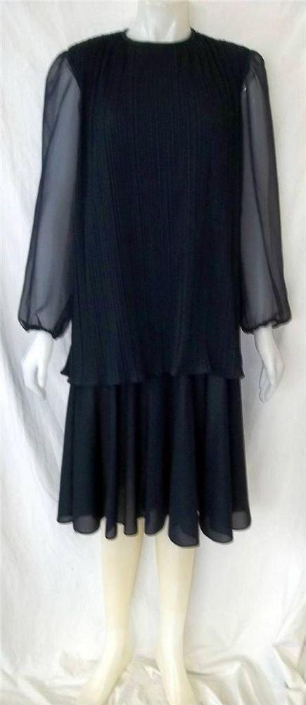 Vintage '70s Gilberti XL 16 18 Navy Blue Faux 2 Pc LS Midcalf Cocktail Dress