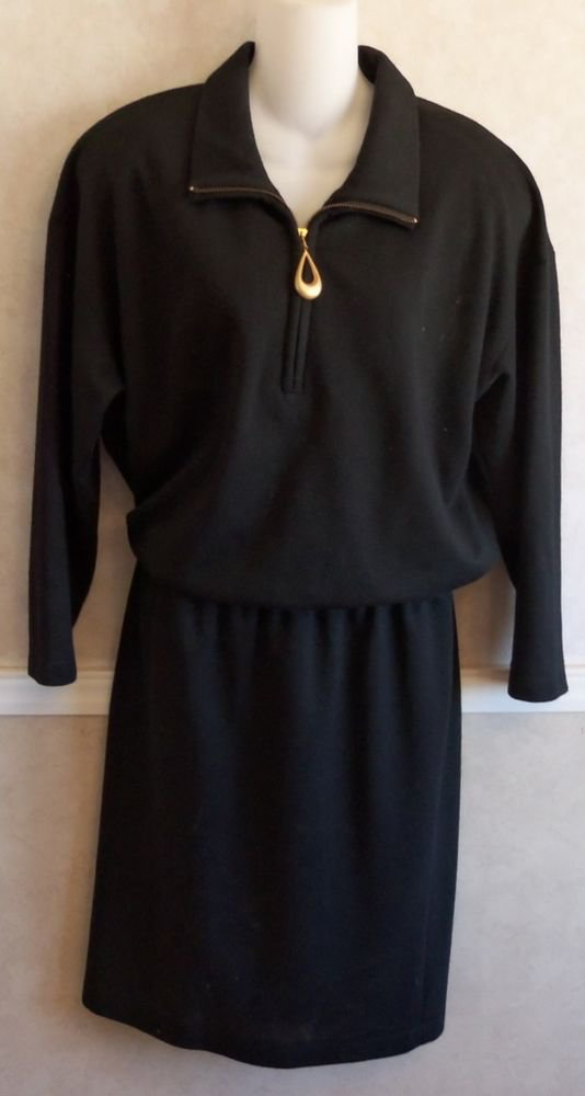 David Warren Classic Vintage Faux 2-Pc Polyester Wool Black Dress 6 Small