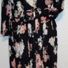 S.L. Fashions Vintage '70s Navy Blue Floral Print Cotton Dress Belt Medium 8 10