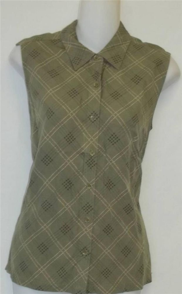 Izod 12 Large Olive Green Plaid Casual Golf Collared Sleeveless Blouse Top