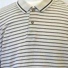 Bugle Boy XL Extra Large Beige Tan Striped SS Men's Polo Golf Collared Shirt