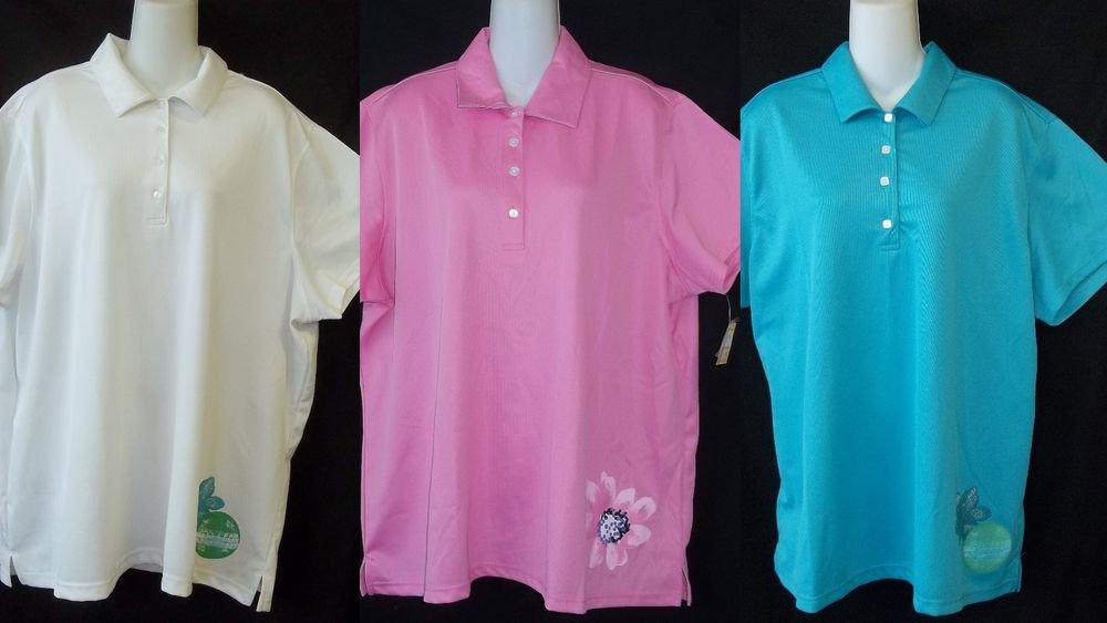 NEW Weekend Traffic Sport 2X 18W 20W 3X 22W 24W Aqua or Pink or White Golf Shirt